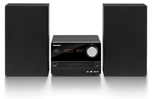 Karcher MC 6470D Kompaktanlage (mit CD Player, Stereoanlage mit Bluetooth, UKW und DAB+ Radio mit Senderspeicher, USB zur MP3-Wiedergabe, Wecker und LED-Stimmungslicht) schwarz