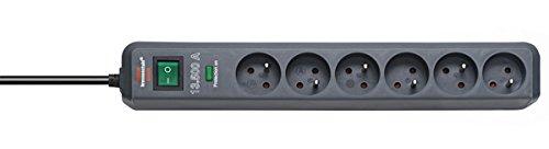 Brennenstuhl Prolongateur multiprise Eco-Line avec parasurtenseur 13.500 A, 6 prises, câble H05VV-F 3G1,5 de 1,4 m de long, anthracite, Quantité : 1