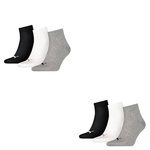 12 pair Puma Sneaker Quarter Socks Unisex Mens & Ladies, Farben:882 - grey/white/black, Socken & Strümpfe:43-46
