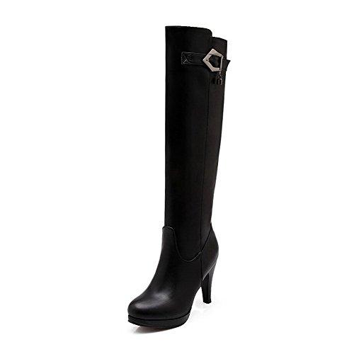 AgooLar Damen Rund Zehe Blend-Materialien Hoch-Spitze Hoher Absatz Stiefel Schwarz-Schnalle