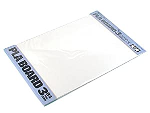 Tamiya 70147-Plástico Placa de 3.0mm, 1Pieza, 257x 364mm, Color Blanco