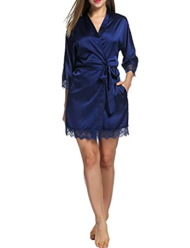 Generic Women's Satin Lacy Robe (Navy Blue, Free Size)