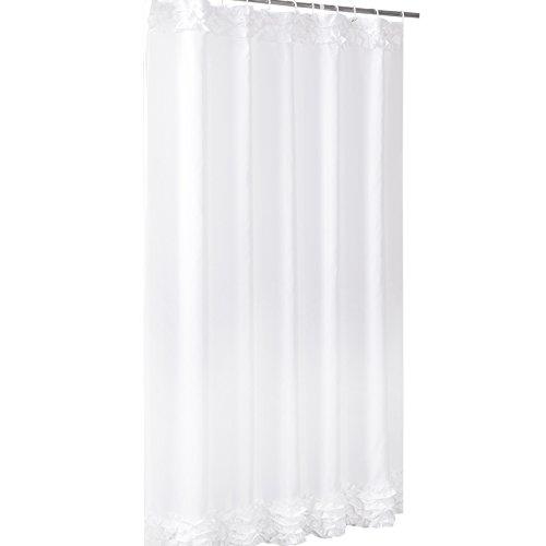 Eanshome Reines Weiß Duschvorhang Anti-Schimmel Textilien Polyester Eanshome Wasserabweisend ca.180x220 cm mit 12 Vorhangringe