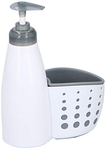 Alpina Spülmittel- oder Seifenspender in Weiß mit Utensilien Halter/Ablage für Küche oder Bad - Bad-spender