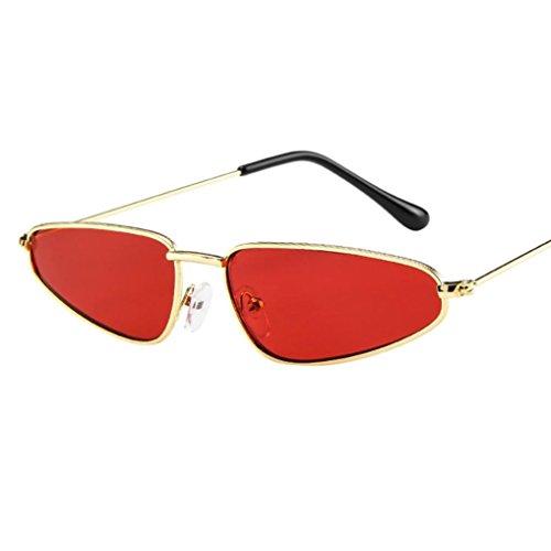Damen Kleines Dreieck Katzenaugen Sonnenbrille EUZeo Sommer Retro Cat Eye Sonnenbrillen Gläser (Rot)