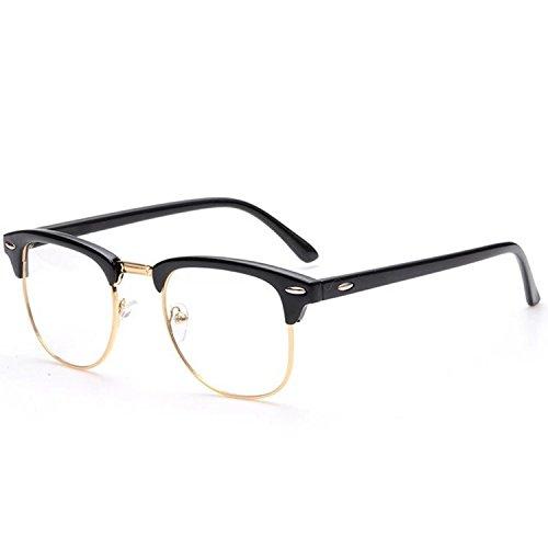Vococal Mode Classic Half Metal Frame Umrandeten Brillenfassungen/Unisex Plain Klar Linse Brillengestelle/Brillen Frame Dekorativ Zubehör für Myopie Brille, Helles Schwarz + Gold