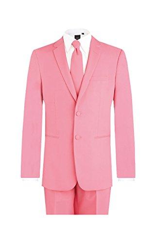 d/Spoke Herren Anzug Jacke Hose Krawatte Normale Passform Rosa 58 (Frack Rosa Wolle)