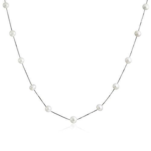 Einfache Braut Weißen Süßwasser-Zuchtperlen Tin Cup Kette 925 Sterling Silber Perlenkette Für Damen Für Freundin 18 In - Cup-halskette Tin