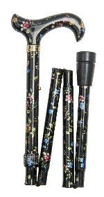 Classic Canes Derby Folding Walking Stick - Black Floral by Classic Canes (Floral Cane)