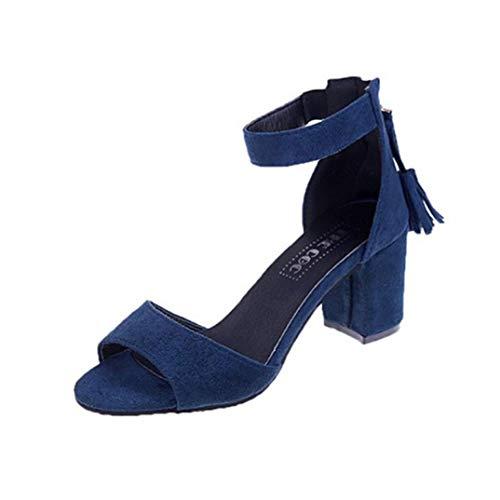 OLEEKA Damen Quadratische High Heels Sandalen Quaste Reißverschluss Single Band Pumps Ankle Wrap Lady Dating Hochzeit Schuhe, 7cm Blue - Größe: 40.5 EU Strappy Ankle Wrap Sandal