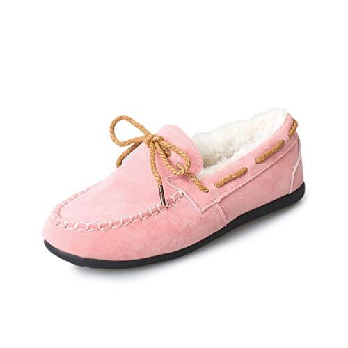 r Bowtie Flache Schuhe Slip on Short Plüsch Fell Faux Wildleder Wohnungen Warme Bootsschuhe ()