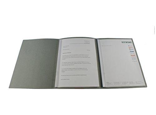 10 dreiteilige Bewerbungsmappen grau mit 2 Klemmschienen in feinster Lederstruktur // inkl. 10 Versandumschläge
