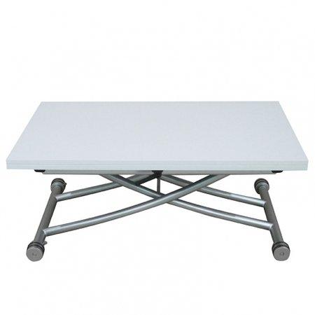 RDM Concept Table Basse relevable à Plateau & allonge dépliable Clever XL - Laqué Blanc Brillant