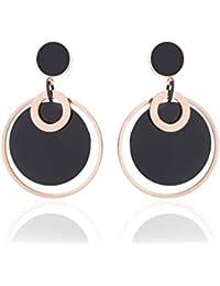 8d61d211b652 Earrings Home Círculo de Acero de Titanio Creativo Pendientes de Dos  Colores Mujer Viento Fresco Rosa de Oro exagerada Pendientes…