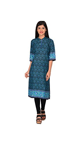 Nakoda Blue Cotton Self print Straight Kurti  available at amazon for Rs.149