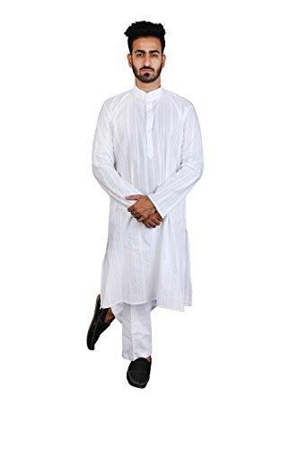Thaath Men's Ethnic Striped White Kurta Pyjama Set (Eid Collection)