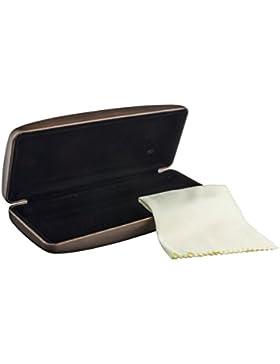 Estuche para gafas con gamuza, en diversos colores, exterior con aspecto de metal y forro interior negro (marrón)