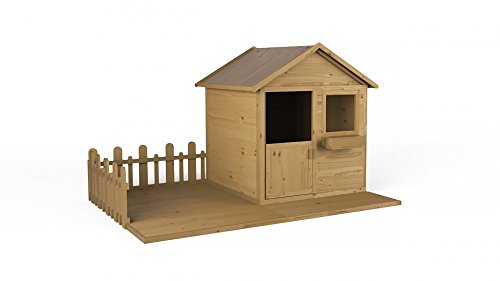 Kinderhaus MAGIC mit Veranda | Holz | 2,24m² | 248x171 | Spielhaus Garten Holzhaus für Kinder  | Fichte | Massiv | Natur | Getrocknet | Wooder