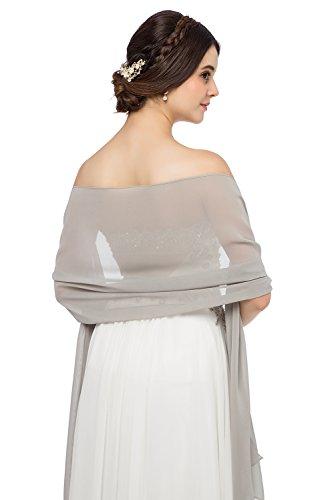JAEDEN Chiffon Stola Schal für Brautkleider Abendkleider Alltagskleidung in Verschiedenen Farben 45cmx220cm Dark Silver