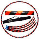 Pro Hula Hoop Reifen Erwachsene (Schwarz/Orange UV) Zerlegbarer 4 piece Travel Hula Hoop für Training u. Tanz HoopDance - Größe 100cm, Gewicht 650g