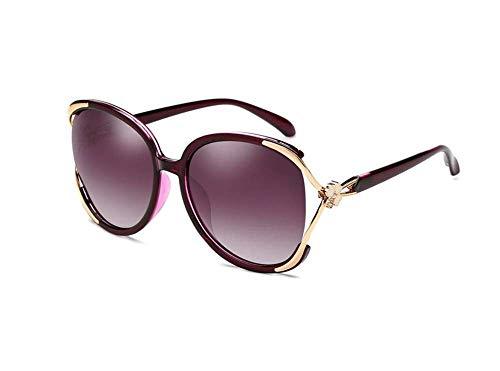 ZTMN Sonnenbrille Weiblicher UV-Schutz Elegant Großer Rahmen Polarisator Reise Straße Schießen Trend Retro Persönlichkeit Brille (Farbe: Lila)