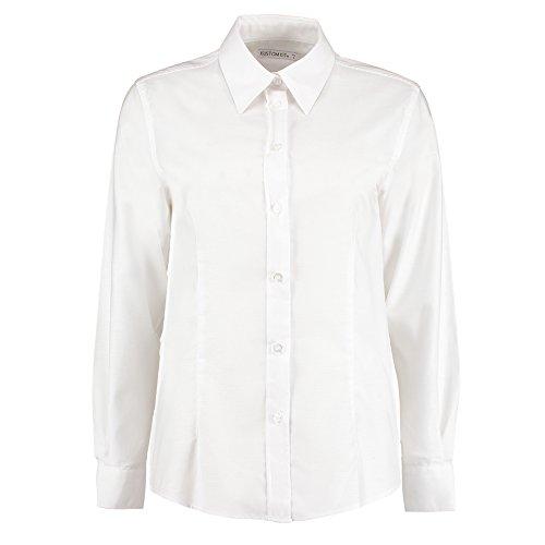 KUSTOM KIT Damen Modern Bluse Gr. 36, Weiß (Ruffle Blouse Front Sheer)