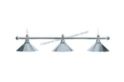 "Billard Lampe \""Elegance\"", silber, 3 Schirme, Ø35cm, 112cm"