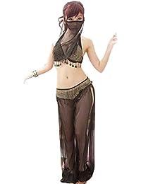 1cdd4399350ff Oyamihin 4 Pezzi Set Donne Sexy Signore Danza del Ventre Abbigliamento Viso  Velo + Reggiseno + t-Back + Pantaloni Lunghi Set Vestito di Danza…