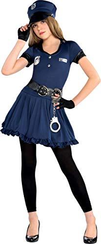 Amscan 999701 Kinderkostüm Polizistin, blau, 8-10 Jahre - Kostüm Valentine Kinder