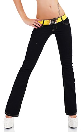 Womens Hipster Bootcut stretchy Jeans Black Sizes UK 4 6 8 10 12