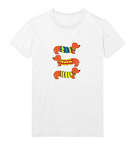 MYMERCHANDISE Three Animated Dachshunds Funny Dogs Three Dogs with Cute costums Men Shirt T-Shirt Black 100% Cotton Mens 2XL White Men Shirt White