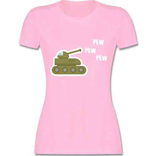 Andere Fahrzeuge Pew Pew Panzer tailliertes Premium TShirt mit  Rundhalsausschnitt für Damen Rosa