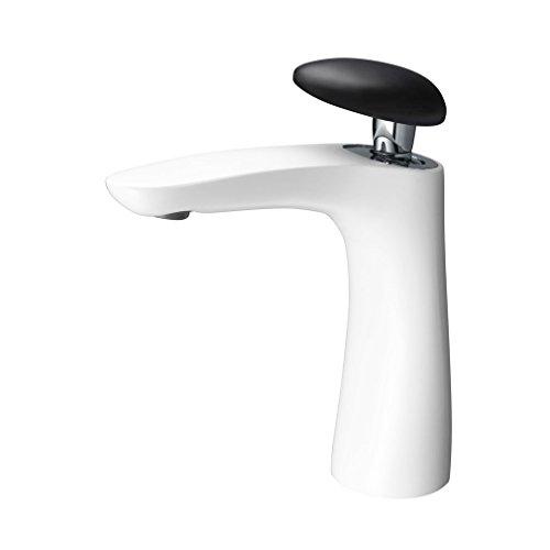 PHASAT | Badarmatur - Waschtischarmatur | Einhebelmischer Wasserhahn mit Cobble Form Schwarz Griff | Messing Weiß ohne Zugstange und Ablaufgarnitur MPBE