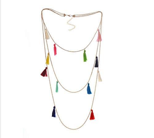 XZZZBXL Damen Halskette Mehrschichtige Boho Perlen Choker Halskette Multicolor Pom Ball Baumwolle Fransen Quaste Aussage Halskette Für Frauen - Fransen Herz