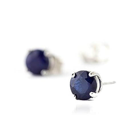 2.00CT Diamant naturel Pierre précieuse de saphir bleu Boucles d'oreilles clous Or blanc massif 14K véritable pour
