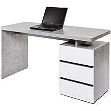Movian, scrivania con 3 cassetti, colore grigio / bianco