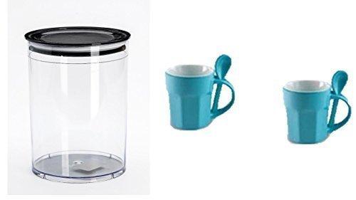 Vorratsbehälter Aromafresh Kaffee + 2 Design Tasse Keramik mit Löffel türkis
