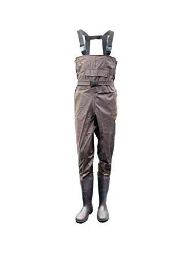 TentHome Nylon-PVC Waders Wathose Wasserdichte Anglerhose bis Brust verschleißfest Watstiefel Angeln Teichhose mit eingearbeiteten Stiefeln Größe wählbar 38-47 (41)