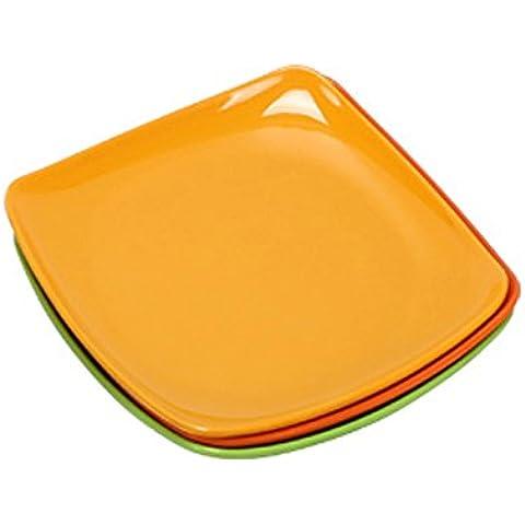 4pcs/set resistencia a la caída de la cena plato alimentos vajilla platos saludables para niños de estilo occidental amarillo