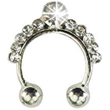 Xiang 1pc Mujeres AAA Zircon nariz colgante anillo no perforante falso Septum Clicker joyería