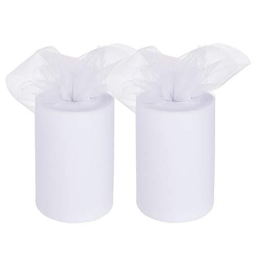 Benecreat 2 roll 182m 600ft tulle rolls spool per la decorazione del partito di cerimonia nuziale, fai da te artigianato, 15.24cm x 91m ogni (bianco)