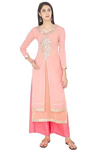 ZOEYAM'S Women's Georgette Light Pink & Beige Kurta (Zc0290-XXL)