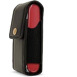igadgitz Noir Étui Housse Case Pochette Cuir Véritable pour Couteaux Suisse (Compatible avec Victorinox)