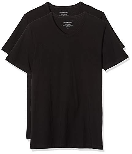 JACK & JONES Jacbasic V-Neck tee SS 2 Pack Camiseta, Negro Black, X-Large (Hombre