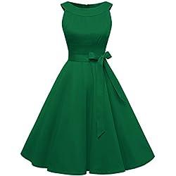 Timormode Sommerkleider 50er Retro Damen Rockabilly Kurz Vintage Kleid Ärmellos Swing Kleid Ballkleid 10408 L Grün