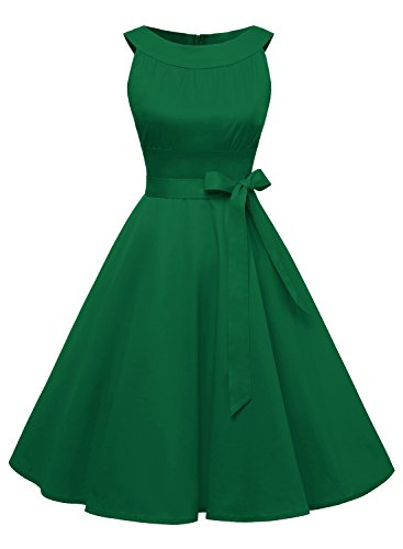 Timormode Sommerkleider 50er Retro Damen Rockabilly Kurz Vintage Kleid Ärmellos Swing Kleid Ballkleid 10408 S Grün