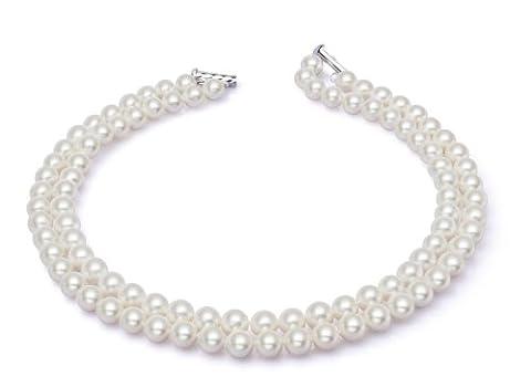 AAA 7,5–8mm Collier de perles d'eau douce Blanc 2rangées 14en 15en ras du cou