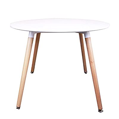 Home Retro Designer Round Wooden Wood Dining Table (White)
