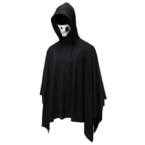 Schädel Kostüm Schwarz Maske - TIREOW Männer Mode Halloween Schädel Maske Vampir Kapuze Umhang Mit Kapuze Mantel Größe Reine Farbe Bluse für Party Kostüm (L, Schwarz)