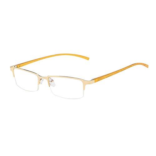 Xinvision Männer Business Gläser - Blue Light Blocking Anti Licht Fatigue Glasses Game Phones Goggle Metall Hälfte Rahmen Retro Brille (Gold)
